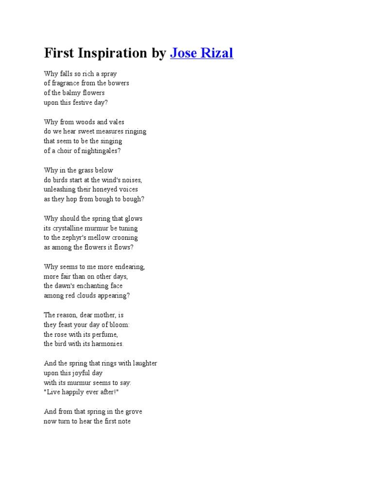 First inspiration by jose rizal perfume singing toneelgroepblik Gallery