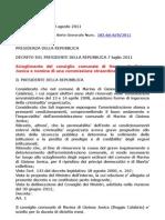 Decreto Scioglimento Concsiglio Omunale Marina i Gioiosa Jonica Gazzetta 183 8 Agosto 2011