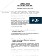 Mignovillard - Compte rendu du Conseil municipal du 8 octobre 2012