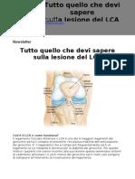Newsletter Tutto Quello Che Devi Sapere Sulla Lesione Del LCA - Dott Raffaello Riccio - www.raffaelloriccio.com