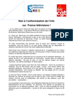 Non a l Uniformisation de l Info Sur France Televisions