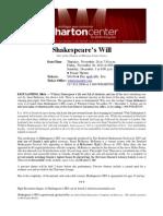 Shakespeare's Will Press Release