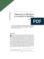 Singer, A - Maquiavelo Y El Liberalismo La Necesidad De La República