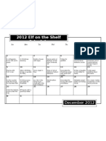 Elf on the Shelf 2012 Schedule