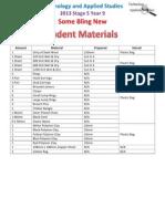 student  class materials