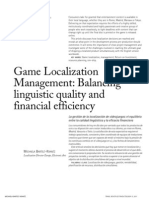 Game Localization Management. Balancing linguistic quality and financial efficiency