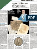 """""""I segreti del Ducato si trovano on-line"""" Il Fondo Antico dell'Ateneo consultabile da casa - Il Resto del Carlino del 29 novembre 2012"""
