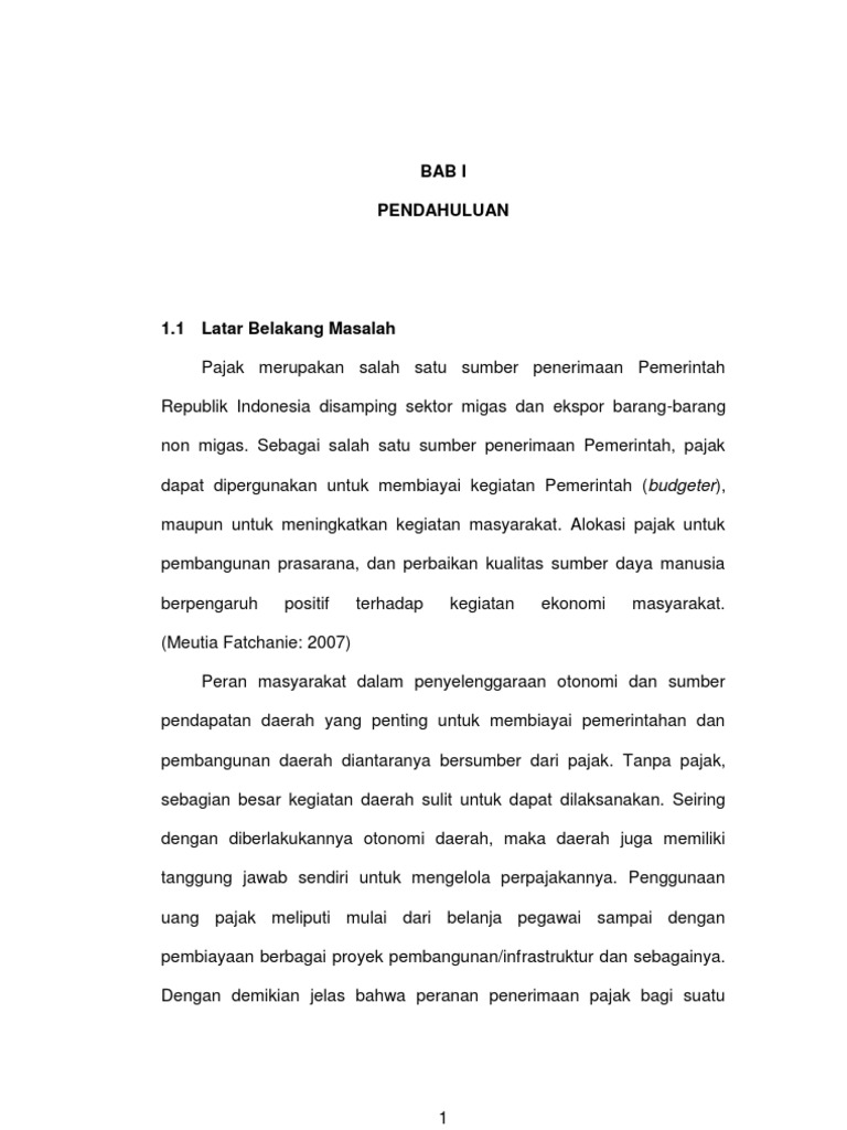 Skripsi Pengaruh Pajak Bab I