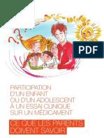 Brochure - Participation d'un enfant ou d'un adolescent à un essai clinique sur un médicament