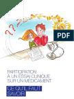 Brochure - Participation à un essai clinique sur un médicament