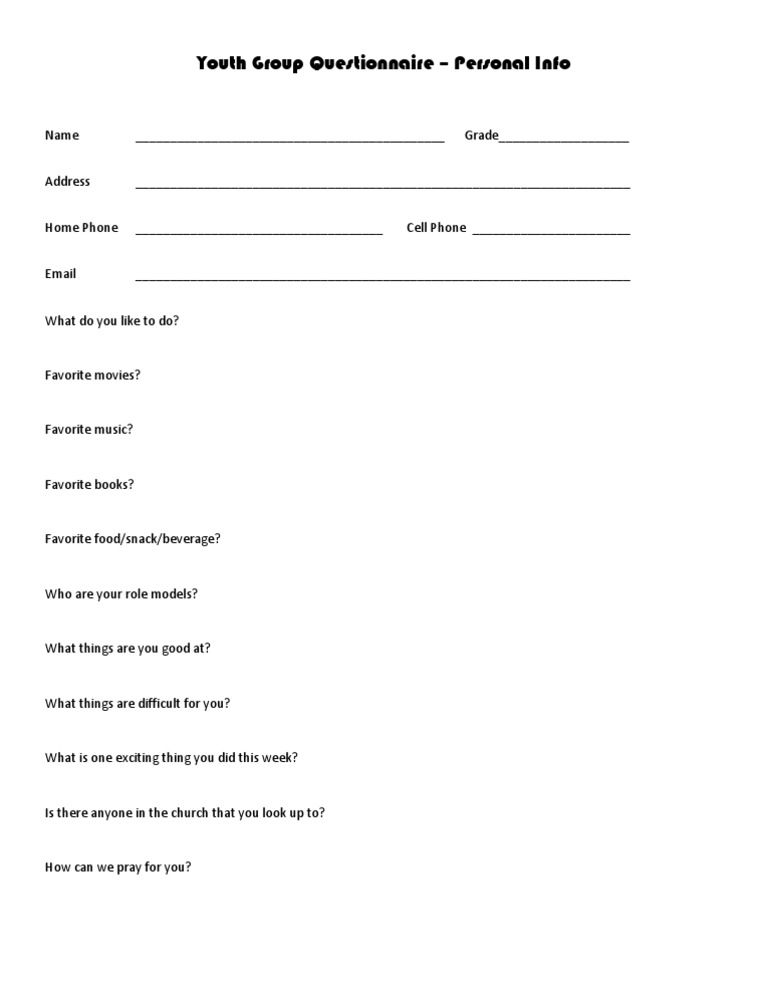 Youth Questionnaire Personal