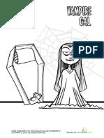 Vampire Girl Coloring Page Printable