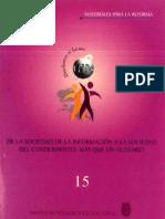 Libros de La Sociedad de La Informacion a La Sociedad Del Conocimiento