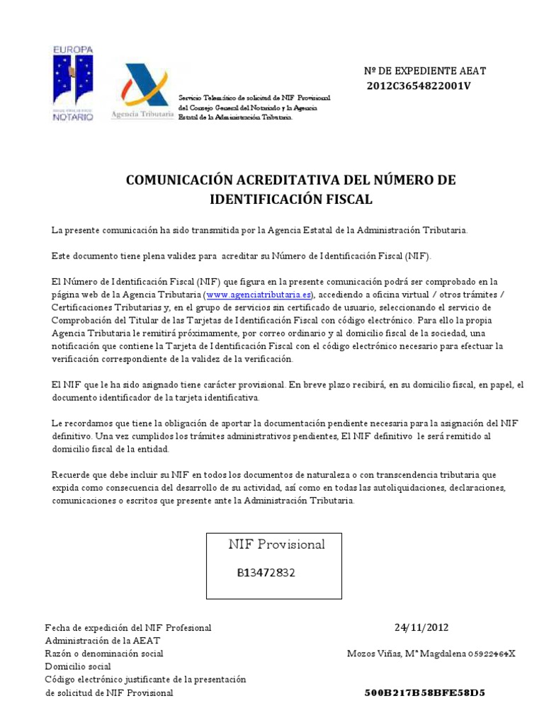 Cif provisional for Oficina virtual tributaria