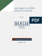 Cambridge Economic Research- Impact of NBA Franchise in Louisville