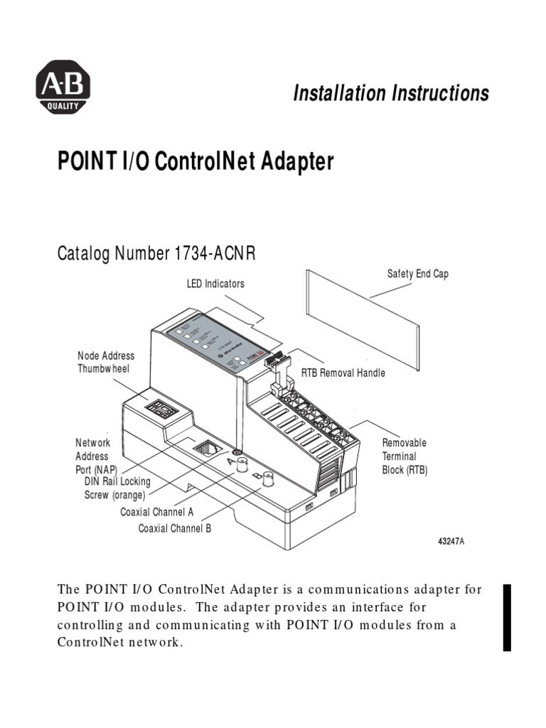 Point I/O Controlnet Adapter: Installation Instructions on