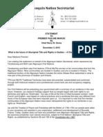 Algonquin Nation Secretariat Statement to Quebec Premier Marois Dec 3, 2012