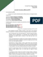 Comunicado Aranceles y Matrículas 2013