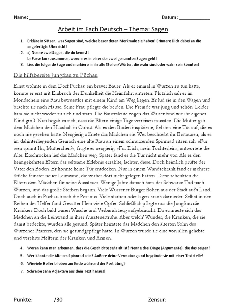 Deutsch fabeln klasse 6