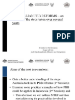 Australian Performance Based Budgeting (PBB)  – an outline of the steps taken over several years