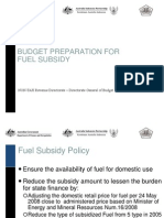 Budget Preparation for Fuel Subsidy