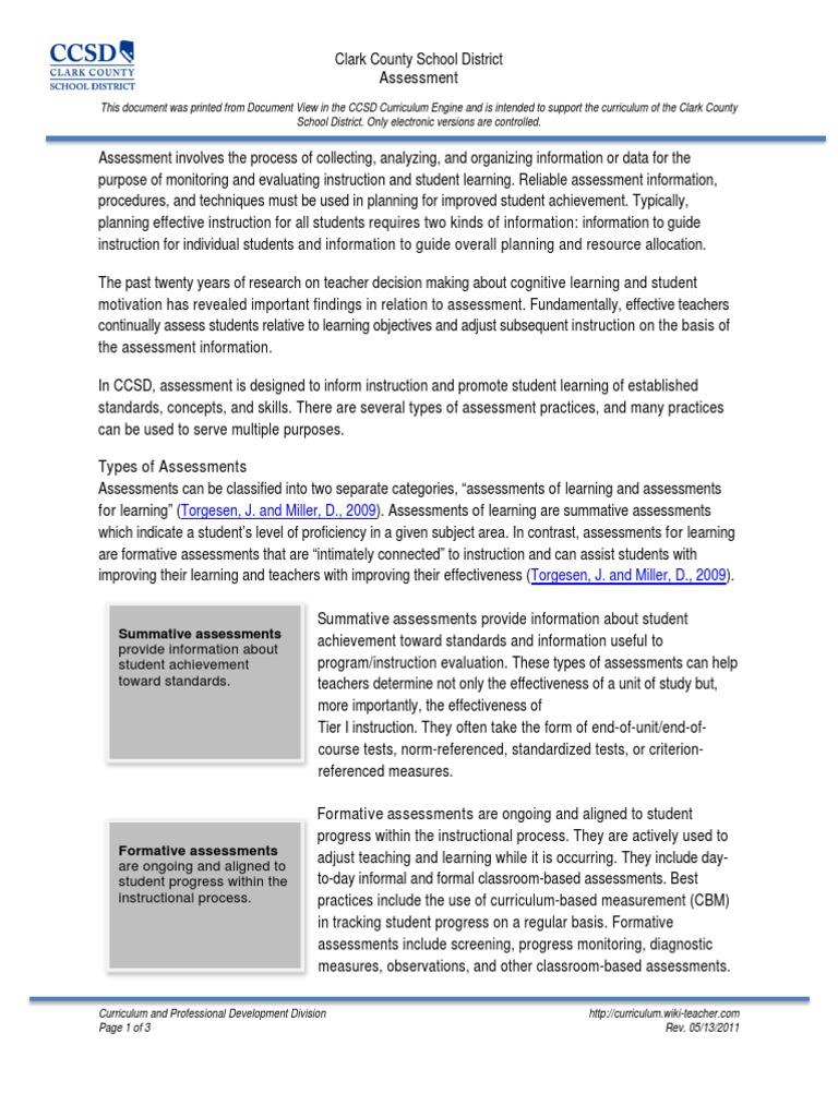 assessments | Educational Assessment | Curriculum