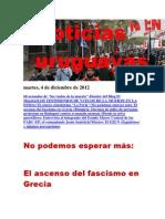 Noticias Uruguayas Martes 4 de Diciembre Del 2012