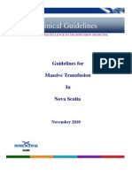 Guidelines and Toolkit for Massive Transfusion in Nova Scotia