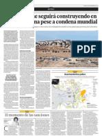 Israel dice que seguirá construyendo en tierra palestina pese a condena mundial