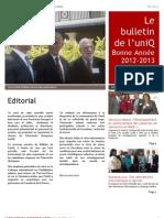 Bulletin de l'UniQ - No 2012-2