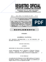 Ley Orgánica Derogatoria y Reformatoria de la Ley Orgánica de Régimen Provincial