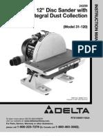 Delta Manual 12 Inch Disc Sander Model 31-120 (Not Scanned)