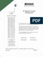 Kenmore Bottom Freezer Refrigerator Stainless Steel 596.71813100 Parts Manual