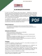 Edital para Seleção de Advogado para o Centro de Direitos Humanos Dom Oscar Romero – CEDHOR - Santa Rita