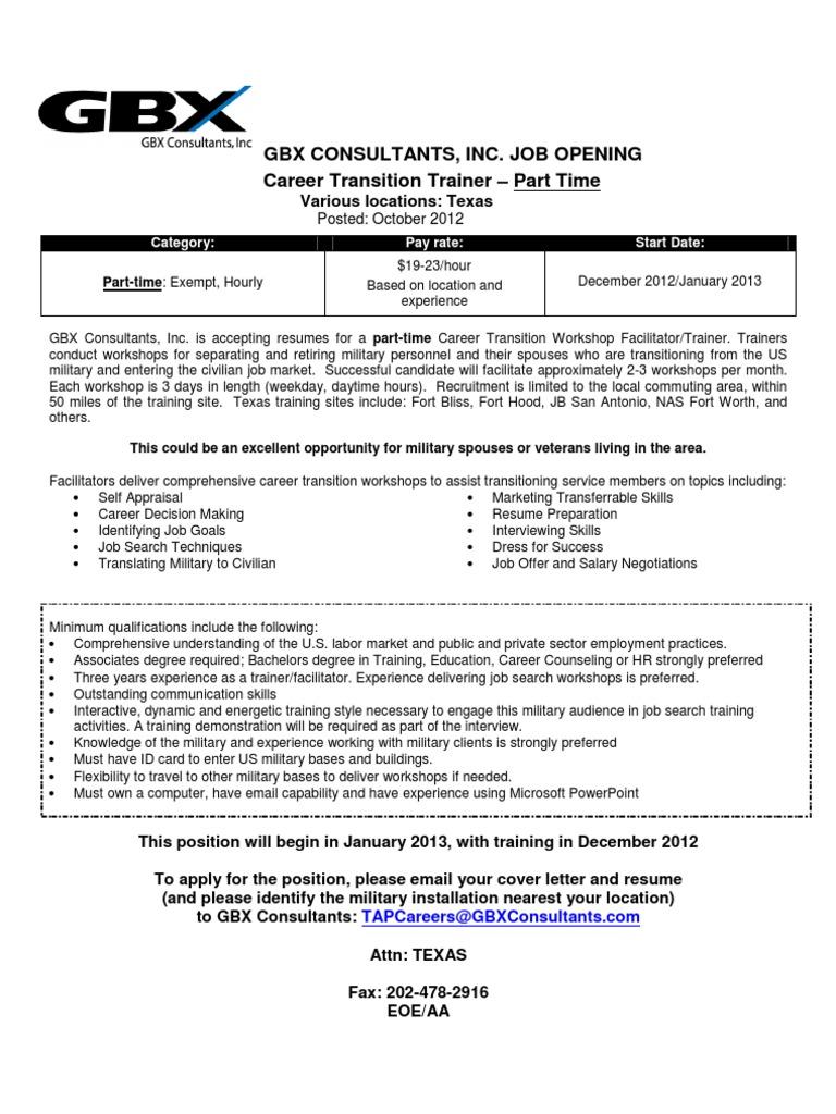 Career Transition Workshop Facilitator Trainer   Consultant ...