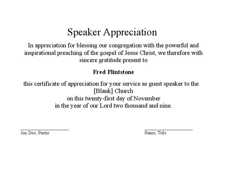 Speaker appreciation certificate guest speaker appreciation certificate yadclub Choice Image