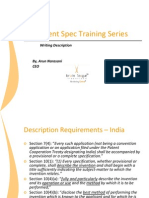 Patent Specification Training Series