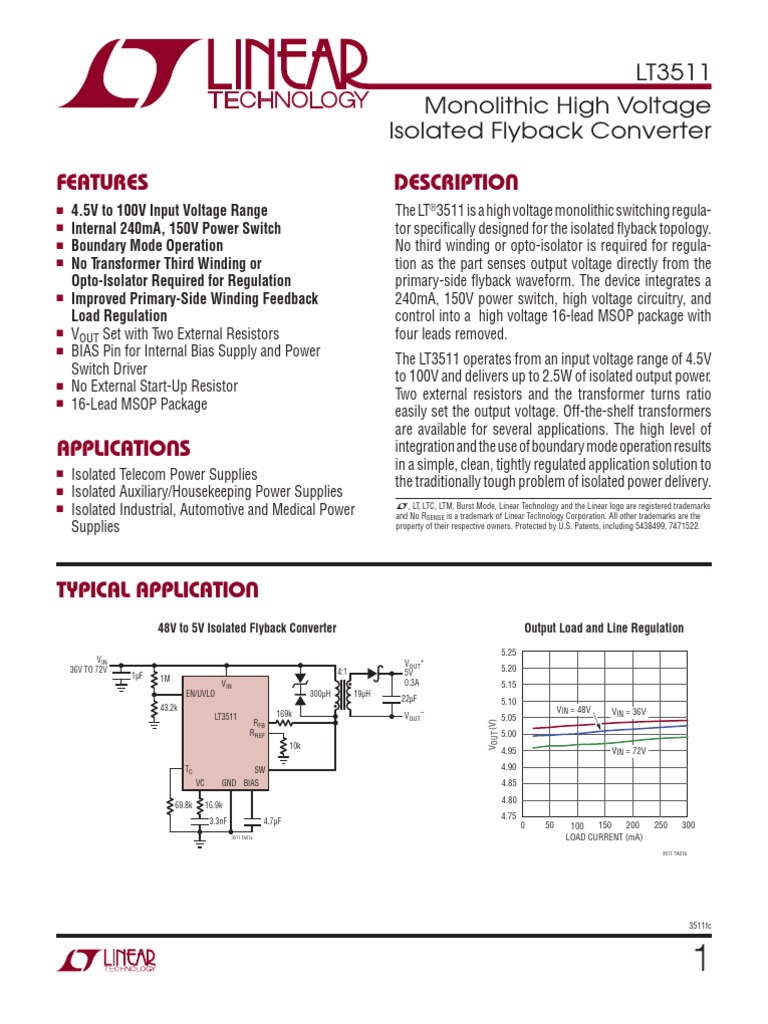 3511fc Transformer Amplifier 3 Output Isolated Flyback Regulator Circuit Diagram Using Lm2577