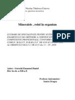 Minearalele, Rolul in Organism
