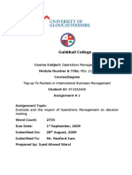 Evaluate the Impact of Operations Management on Decision Making
