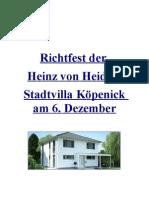 Richtfest der Heinz von Heiden Stadtvilla Köpenick am