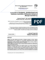 Evaluation of Analgesic , Antidiarrhoeal and Cytotoxic Activities of Ethanolic Extract of Bacopa monnieri ( L )