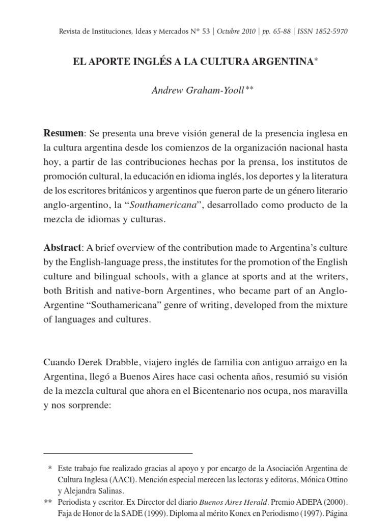 EL APORTE INGLÉS A LA CULTURA ARGENTINA