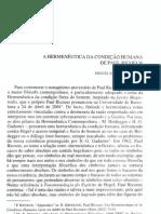 A HERMENÊUTICA DA CONDIÇÃO HUMANA de paul ricoeur
