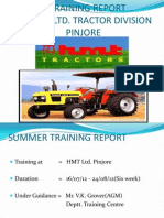 report on hmt tractor division, summer training, pinjore