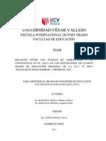 """RELACIÓN ENTRE LOS NIVELES DE AGRESIVIDAD Y LA CONVIVENCIA EN EL AULA EN LOS ESTUDIANTES DE CUARTO GRADO DE EDUCACIÓN PRIMARIA DE LA I.E.T. Nº 88013 """"ELEAZAR GUZMÁN BARRÓN"""", CHIMBOTE, 2011."""