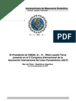 Comunicado de CIMAS en AILP - El Presidente de CIMAS, Elbio Laxalte Terra, presente en el 2° Congreso Internacional de la Asociación Internacional del Libre Pensamiento (AILP)