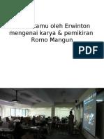 Kuliah Tamu Oleh Erwinton Mengenai Karya & Pemikiran