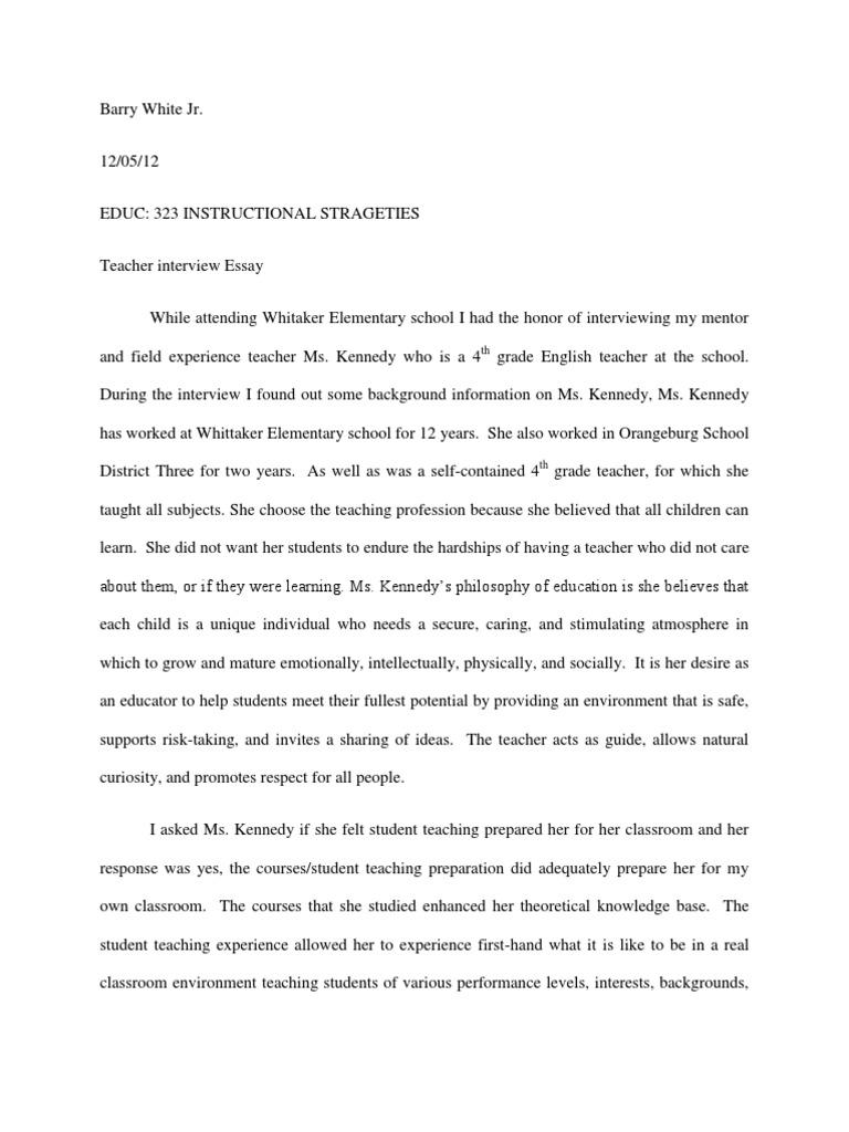 teacher interview essay  sharing  teachers