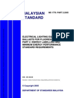 Ms 1778 Part 2 2005 Electrical Lighting Equipment Ballasts for Fluorescent Lamps Part 2 Energy Labelling and Minimum Energy Performance Standard Requirements